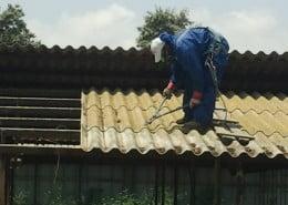 פירוק גג אסבסט מחממה בגן שילר